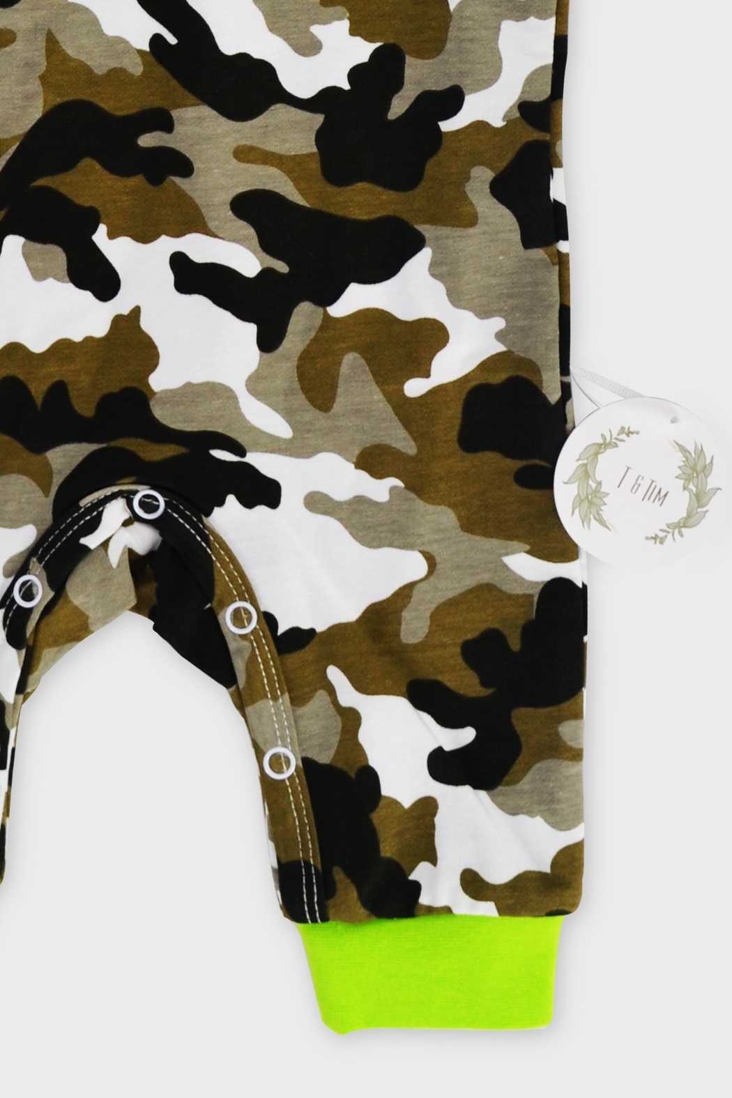 T & Tim Army Camouflage Jumpsuit with Hoodie - Back Cropped Image
