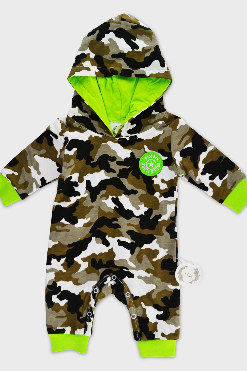 T & Tim Army Camouflage Jumpsuit with Hoodie - Main Image