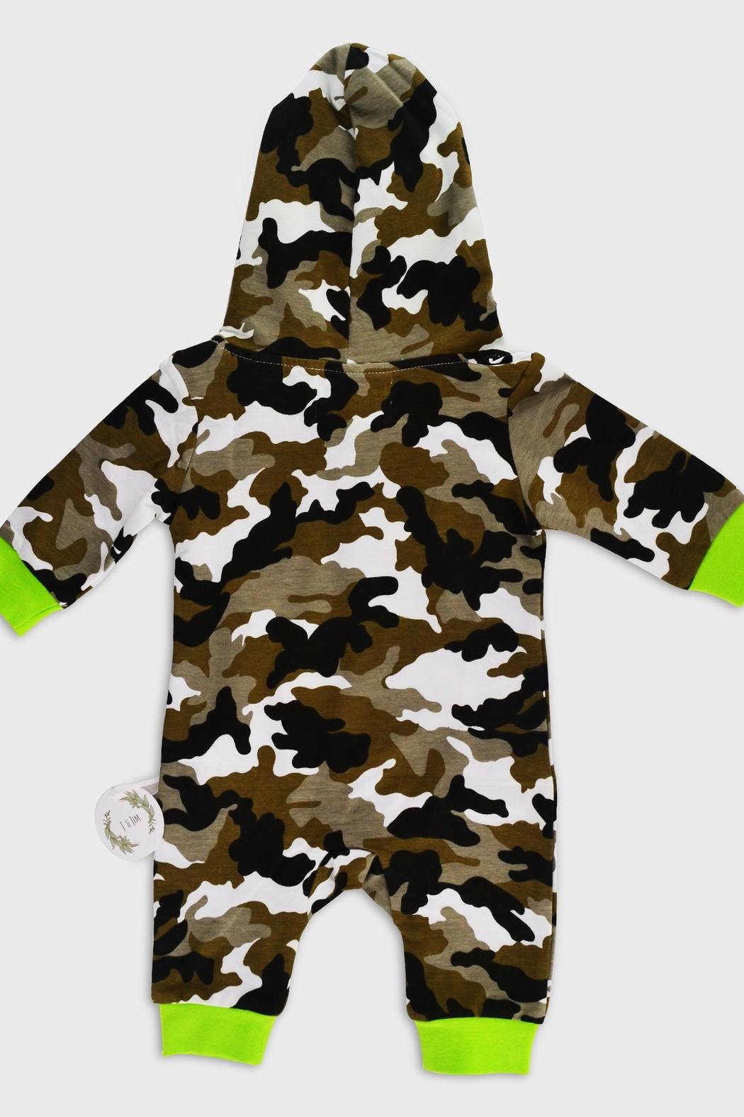 T & Tim Army Camouflage Jumpsuit with Hoodie - Front Full Image
