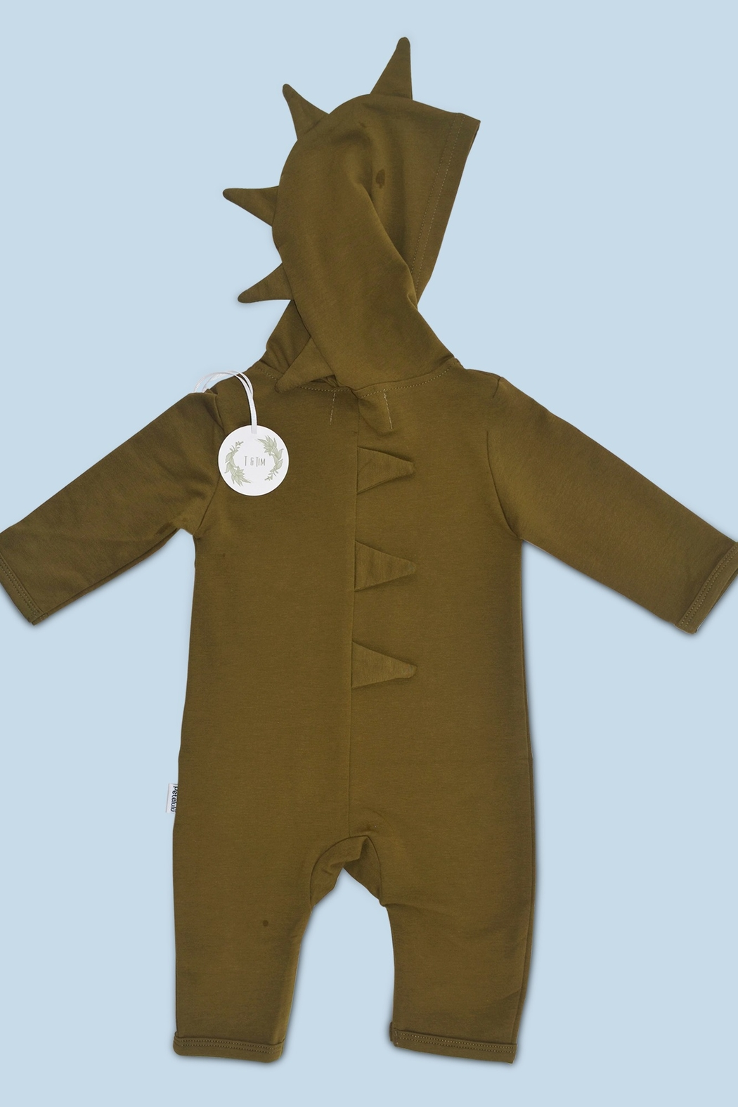 T & Tim Army Green Delightful Dino Baby Jumpsuit - Front Full Image