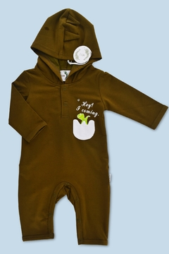 Shoptiques Product: Army Green Delightful Dino Baby Jumpsuit