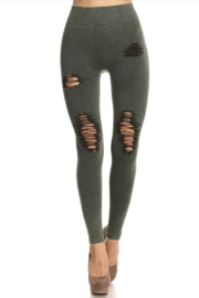Tiny House of Fashion Army Green Distressed Leggings - Product Mini Image