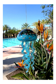 Apricot Mint Art Glass Jellyfish Chime - Front cropped