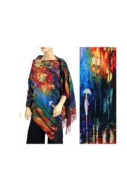 Magic Scarf Art Shawl in Suede Cloth -#12 - Front full body