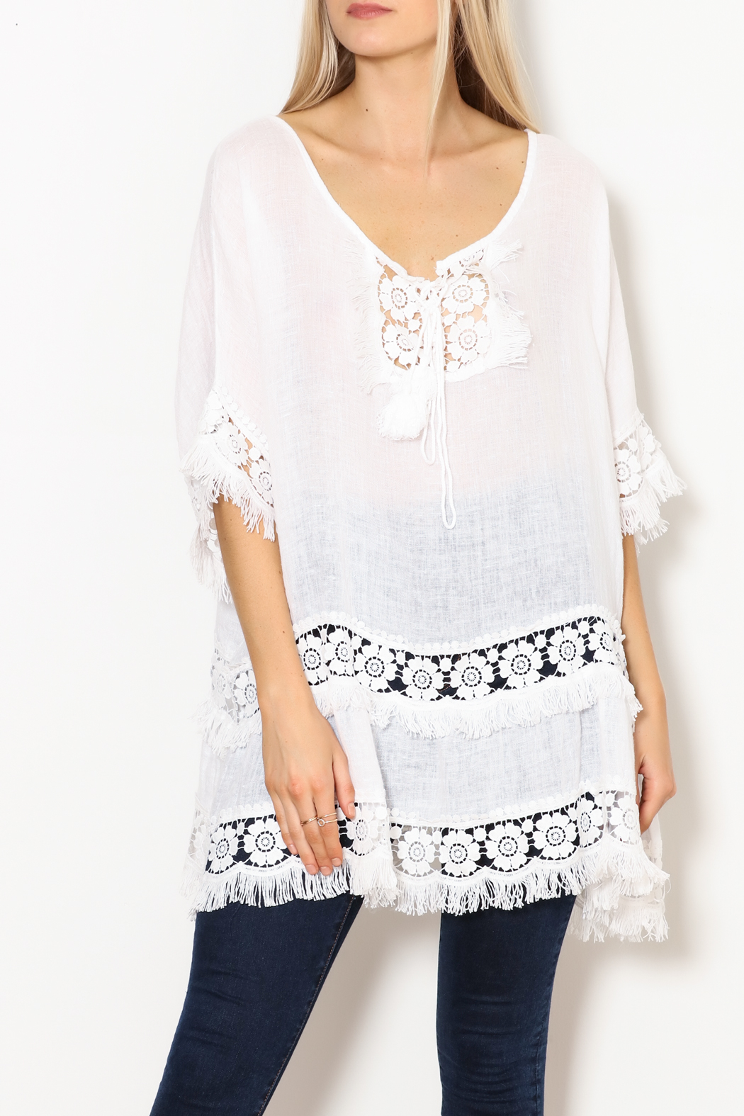 SCANDAL Art White Linen & Lace & Fringe Tunic - Front Full Image