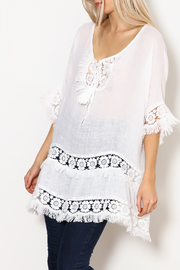 SCANDAL Art White Linen & Lace & Fringe Tunic - Product Mini Image