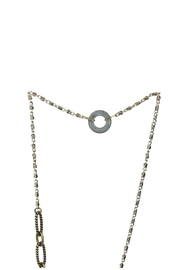 Art By Amy Mardi-Gras Necklace-Gold Tassel - Front full body