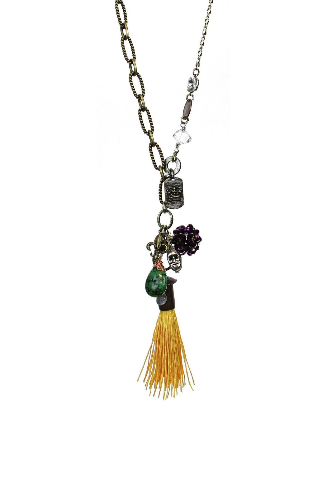 Art By Amy Mardi-Gras Necklace-Gold Tassel - Main Image
