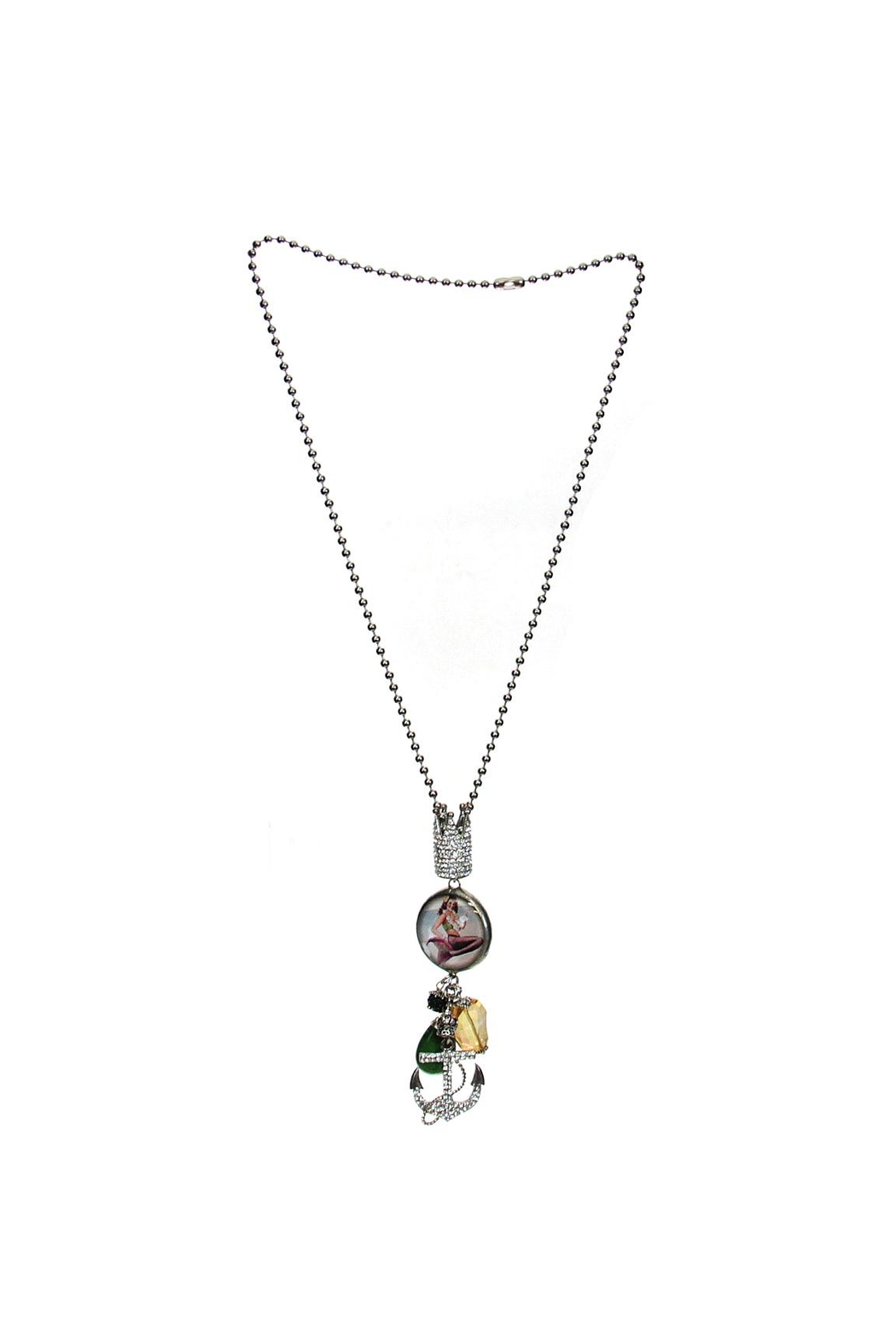 Art By Amy Mardi-Gras Necklace-Mermaid Pendant - Front Full Image