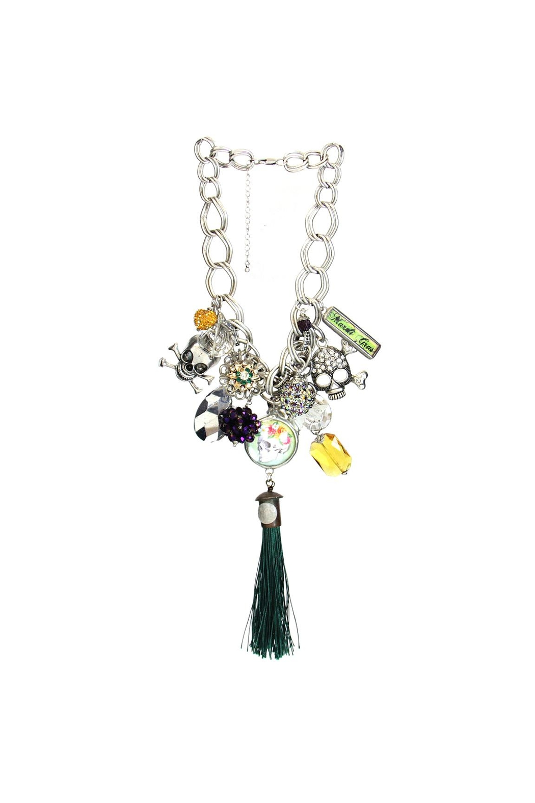 Art By Amy Mardi-Gras Necklace-Skull Tassel - Front Cropped Image