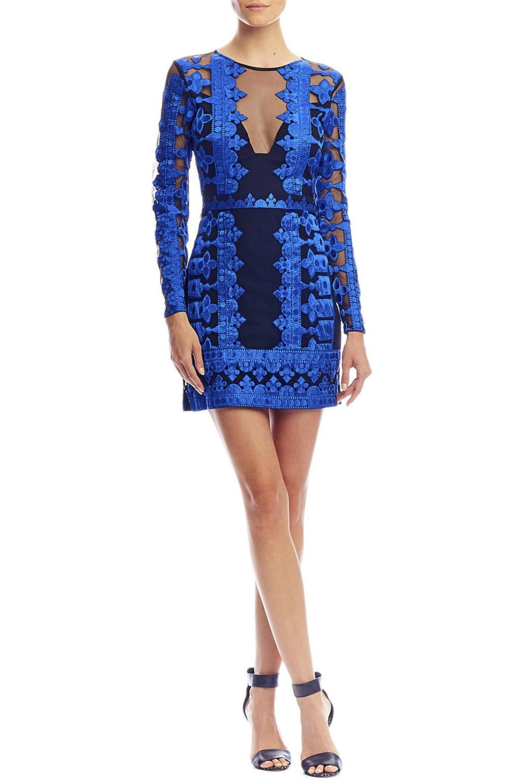 Artelier Nicole Miller Embroidered Illusion Dress Front Cropped Image