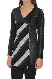 Artex Faux-Suede Stripe Top - Front cropped
