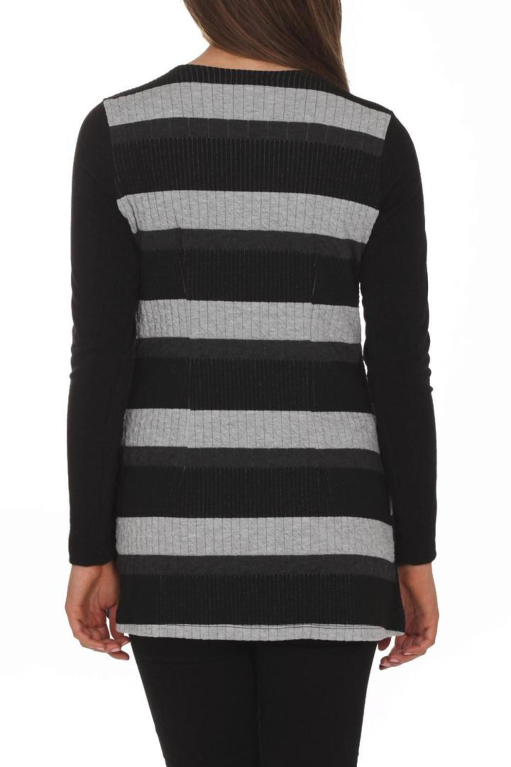 Artex Faux-Suede Stripe Top - Front Full Image