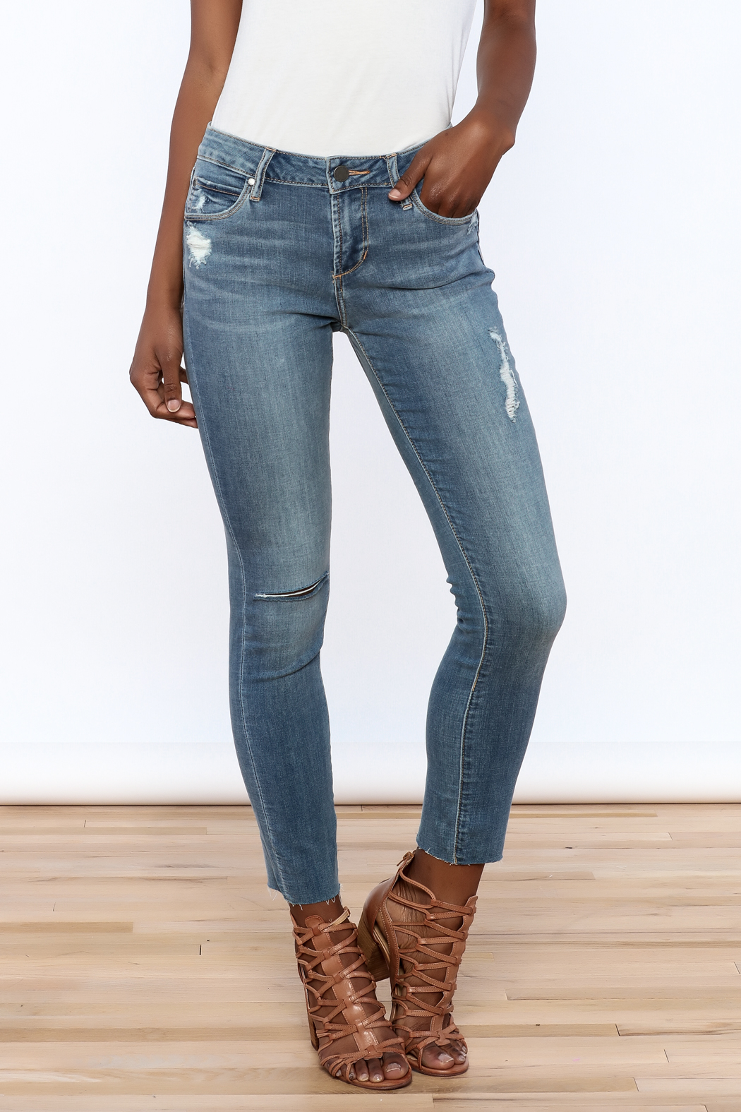 Articles of Society Dark Denim Distressed Jeans - Front Cropped Image