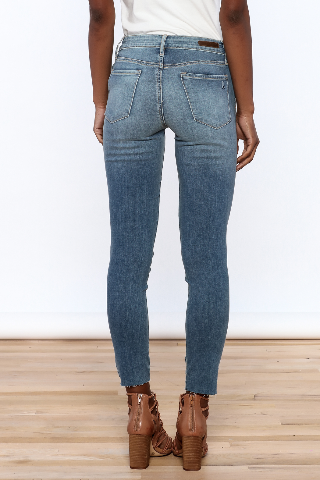 Articles of Society Dark Denim Distressed Jeans - Back Cropped Image