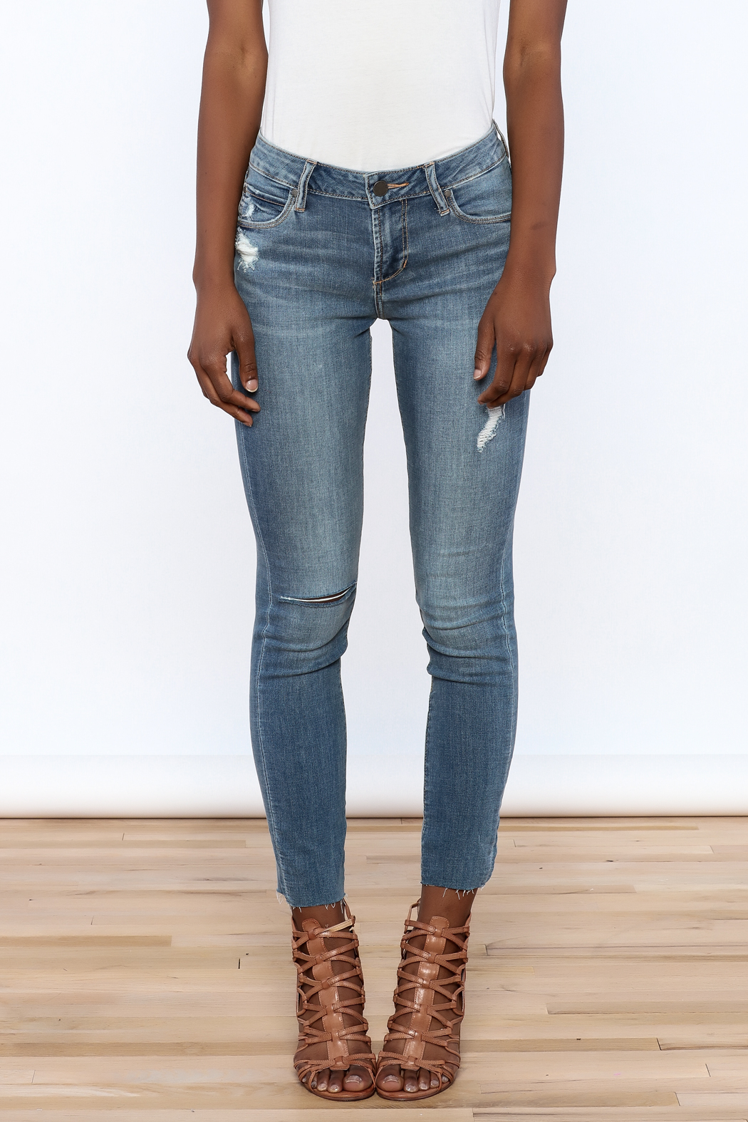 Articles of Society Dark Denim Distressed Jeans - Side Cropped Image