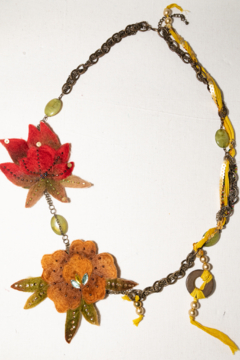 Handmade by CA artist Artisan Fabric, Bead and Chain Necklace - Product List Image