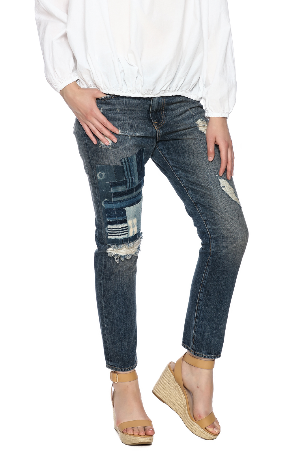 Artisan de Luxe Indigo Patchwork Jean - Front Cropped Image