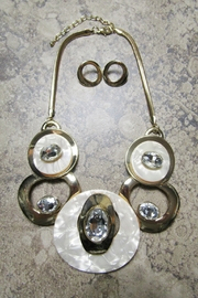 Sophia ARTSY METAL CLEAR RHINESTONE WITH ACRYLIC DISKS NECKLACE - Product Mini Image