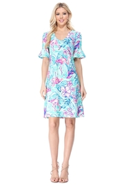 Aryeh Aqua Ruffle Sleeve Dress - Product Mini Image