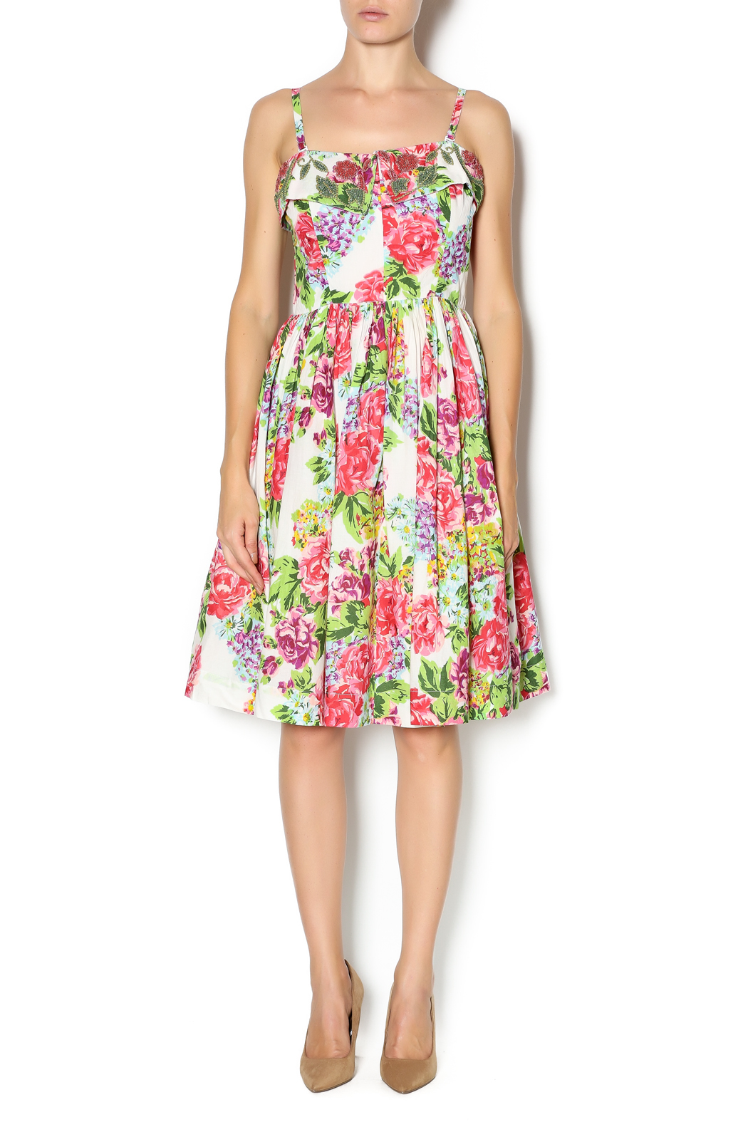 Aryeh Beaded Rose Floral Dress - Front Full Image