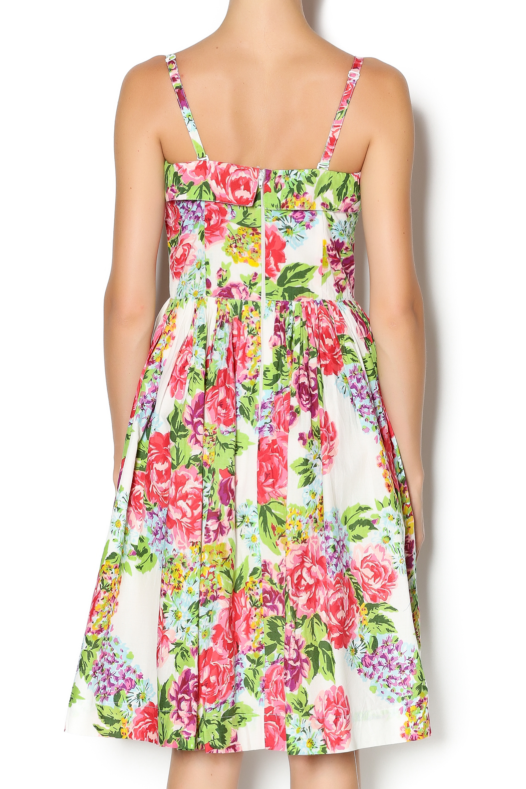 Aryeh Beaded Rose Floral Dress - Back Cropped Image