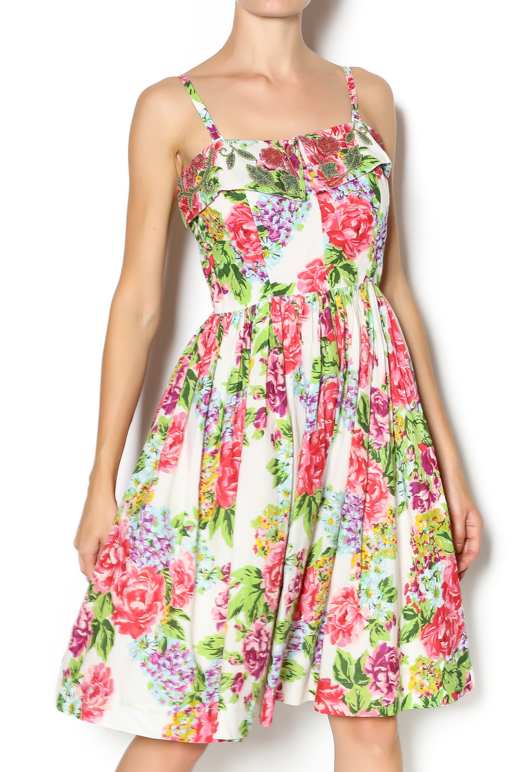 Aryeh Beaded Rose Floral Dress - Main Image