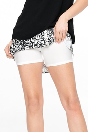 Aryeh Black And White Lace Detail Skort - Front full body