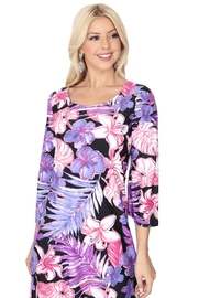 Aryeh Black Floral Quarter Sleeve Dress - Front full body