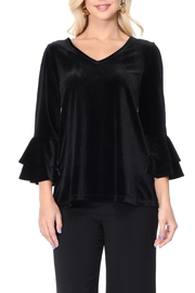 Aryeh Black Ruffle Sleeve Velvet Top - Front cropped