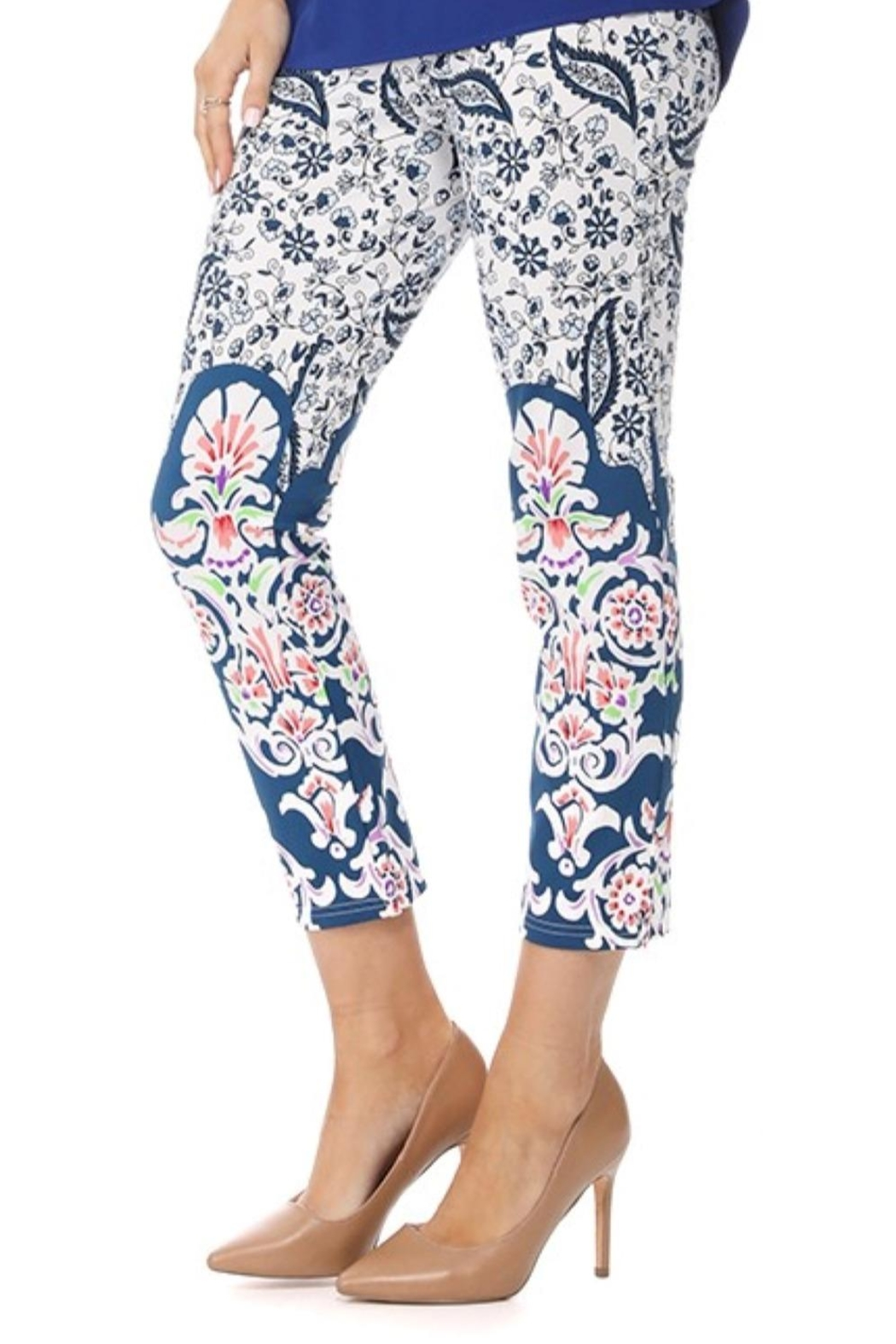 Aryeh Blue Paisley Cropped Legging - Front Full Image