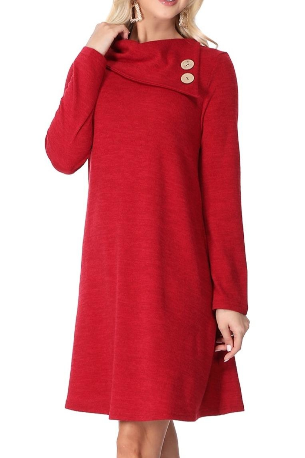 Aryeh Cherry Cowl Neck Dress - Side Cropped Image