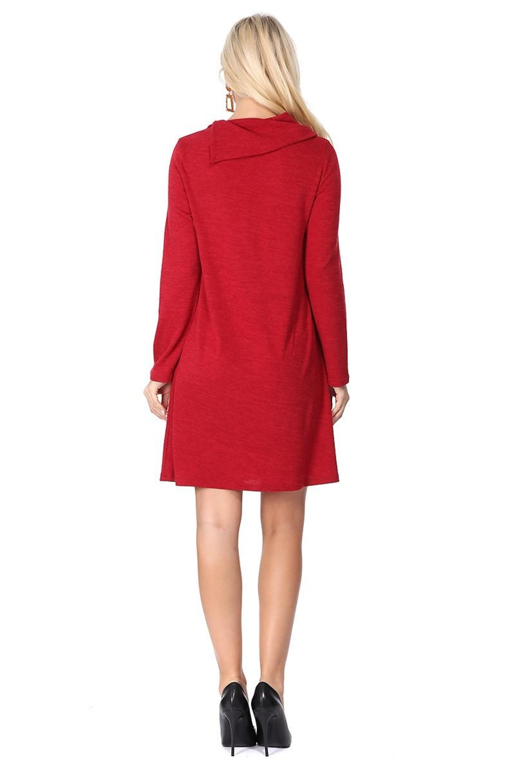 Aryeh Cherry Cowl Neck Dress - Back Cropped Image
