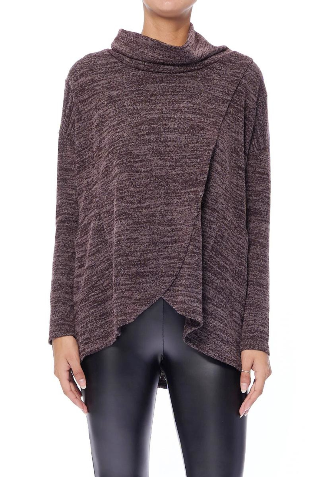 Aryeh Chocolate Cowl Neck Top - Front Cropped Image