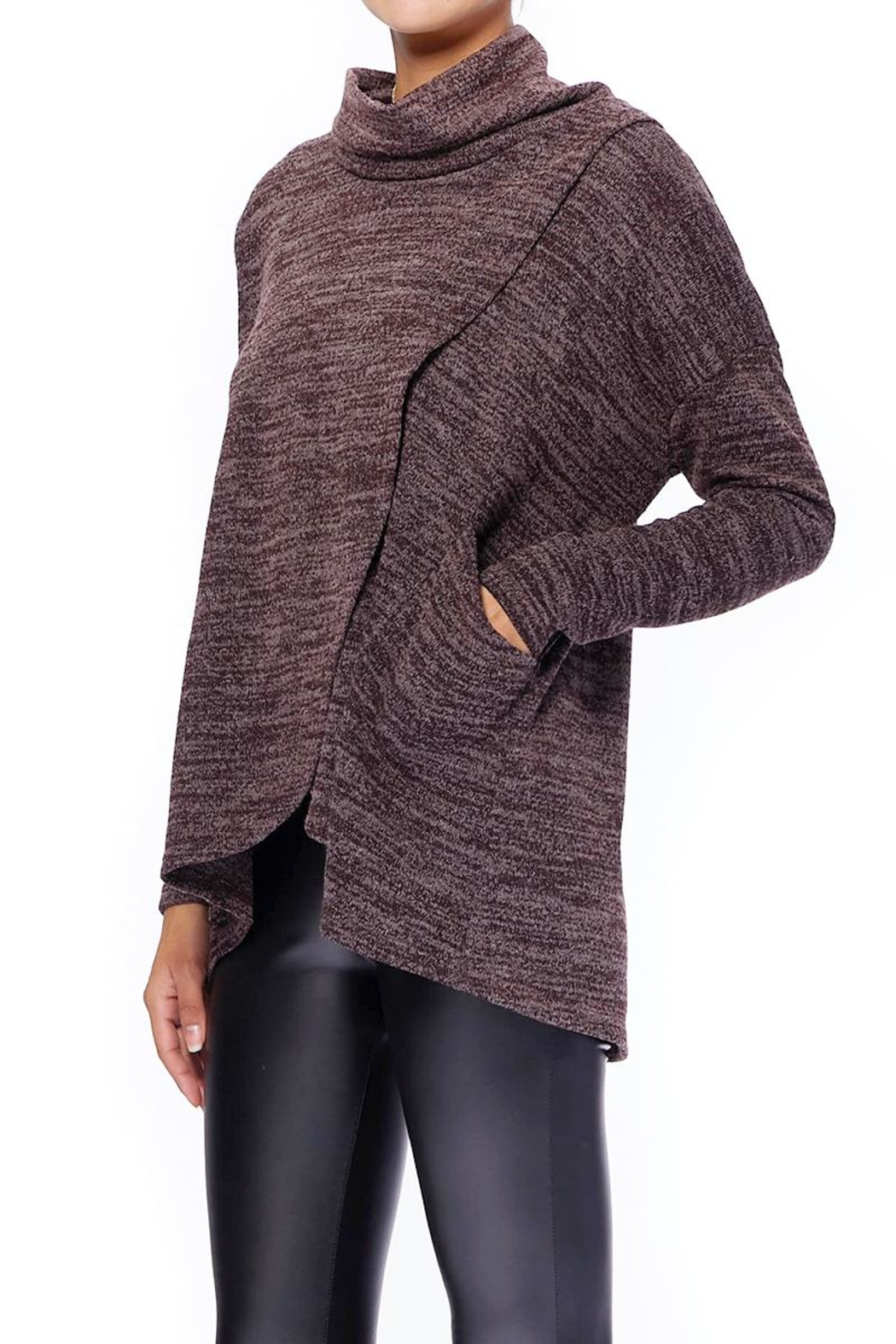 Aryeh Chocolate Cowl Neck Top - Side Cropped Image