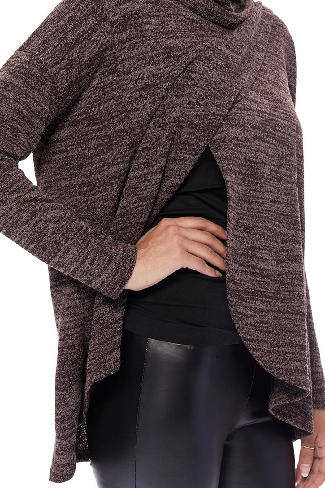 Aryeh Chocolate Cowl Neck Top - Front Full Image