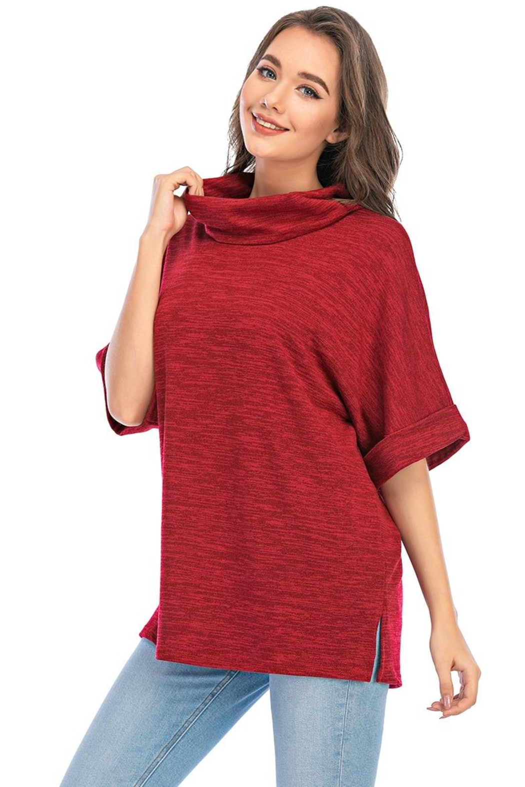 Aryeh Cowl Neck Tunic In Cherry - Front Full Image