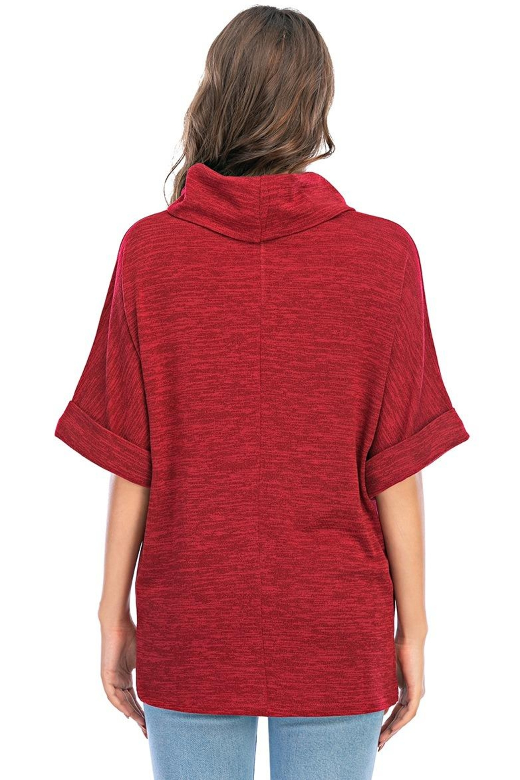 Aryeh Cowl Neck Tunic In Cherry - Back Cropped Image