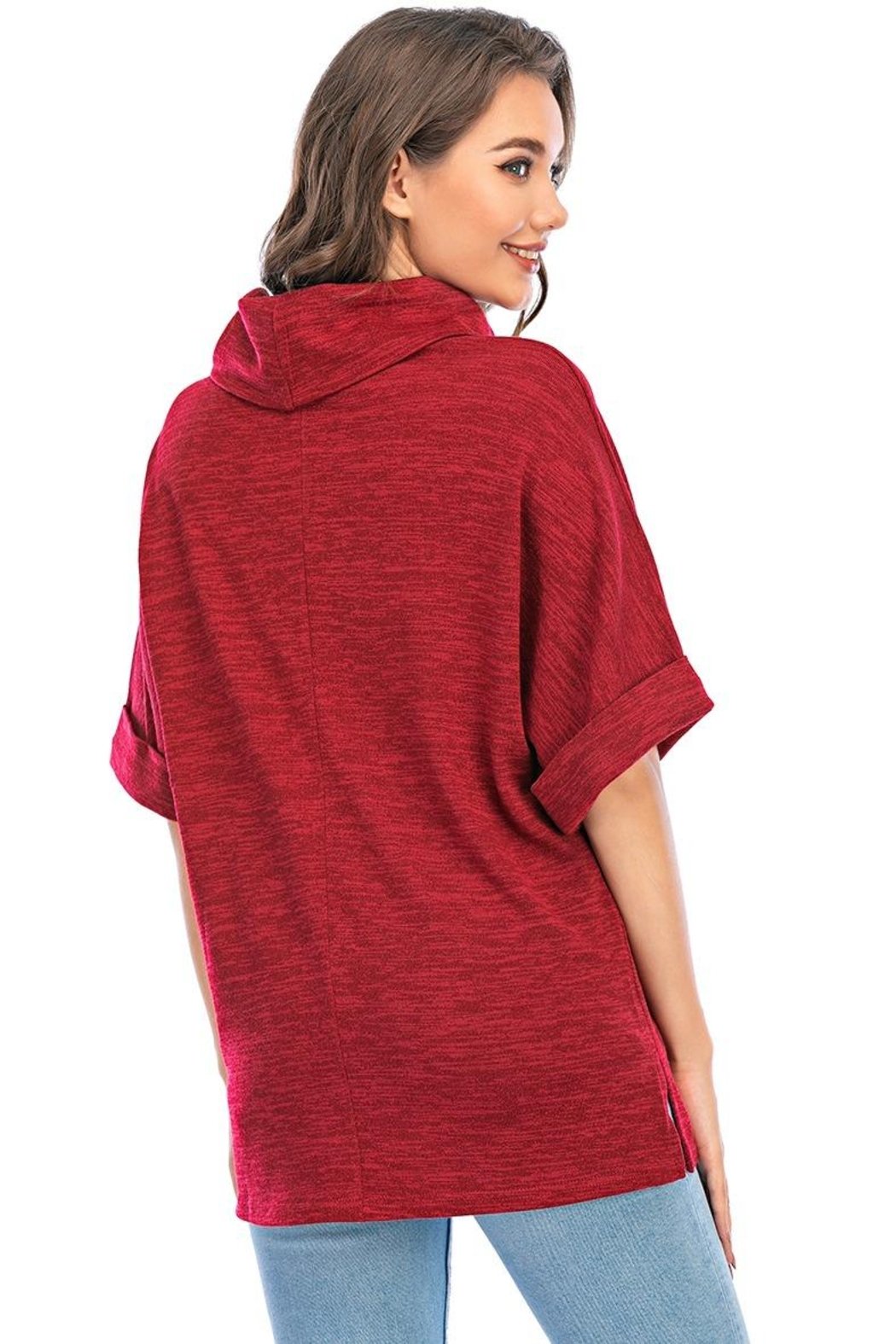 Aryeh Cowl Neck Tunic In Cherry - Side Cropped Image