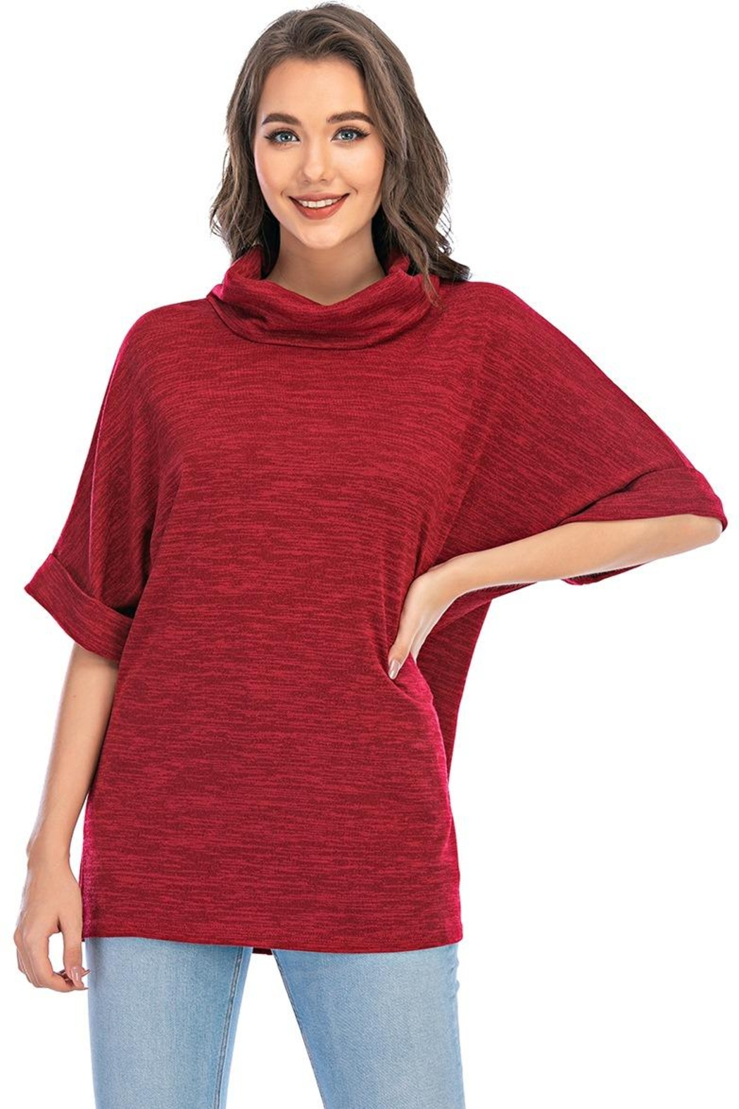Aryeh Cowl Neck Tunic In Cherry - Main Image