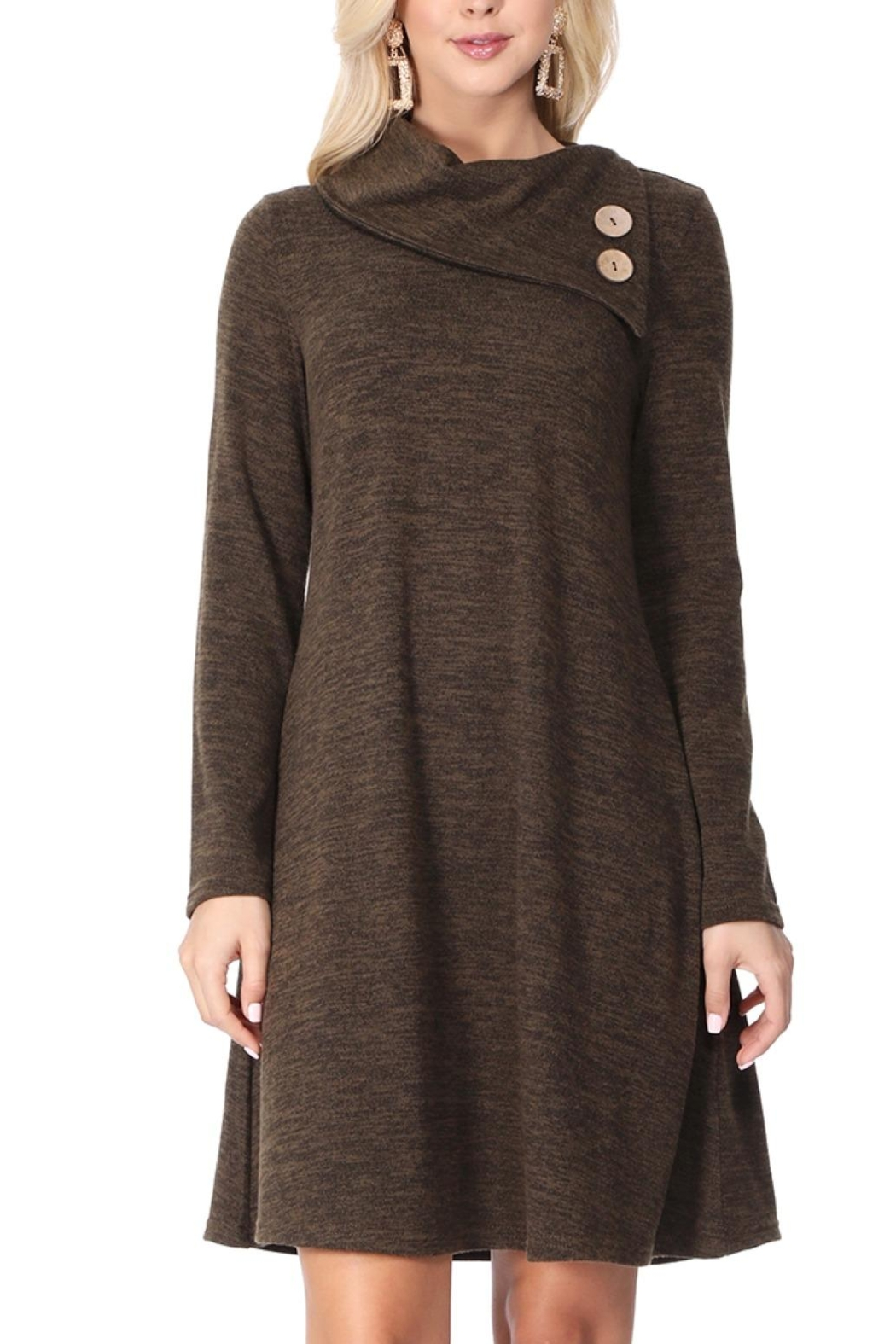 Aryeh Dark Olive Cowl Neck Knit Dress - Side Cropped Image