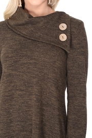 Aryeh Dark Olive Cowl Neck Knit Dress - Back cropped