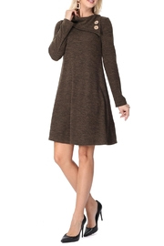 Aryeh Dark Olive Cowl Neck Knit Dress - Front cropped