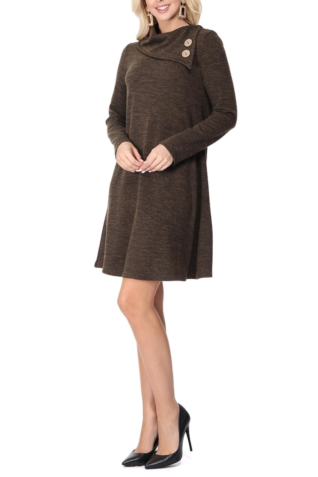 Aryeh Dark Olive Cowl Neck Knit Dress - Front Full Image