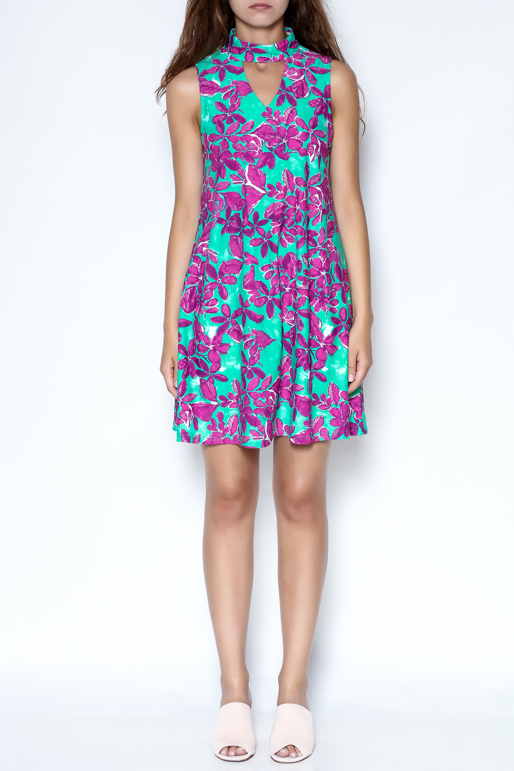 Aryeh Floral Choker Dress - Front Full Image