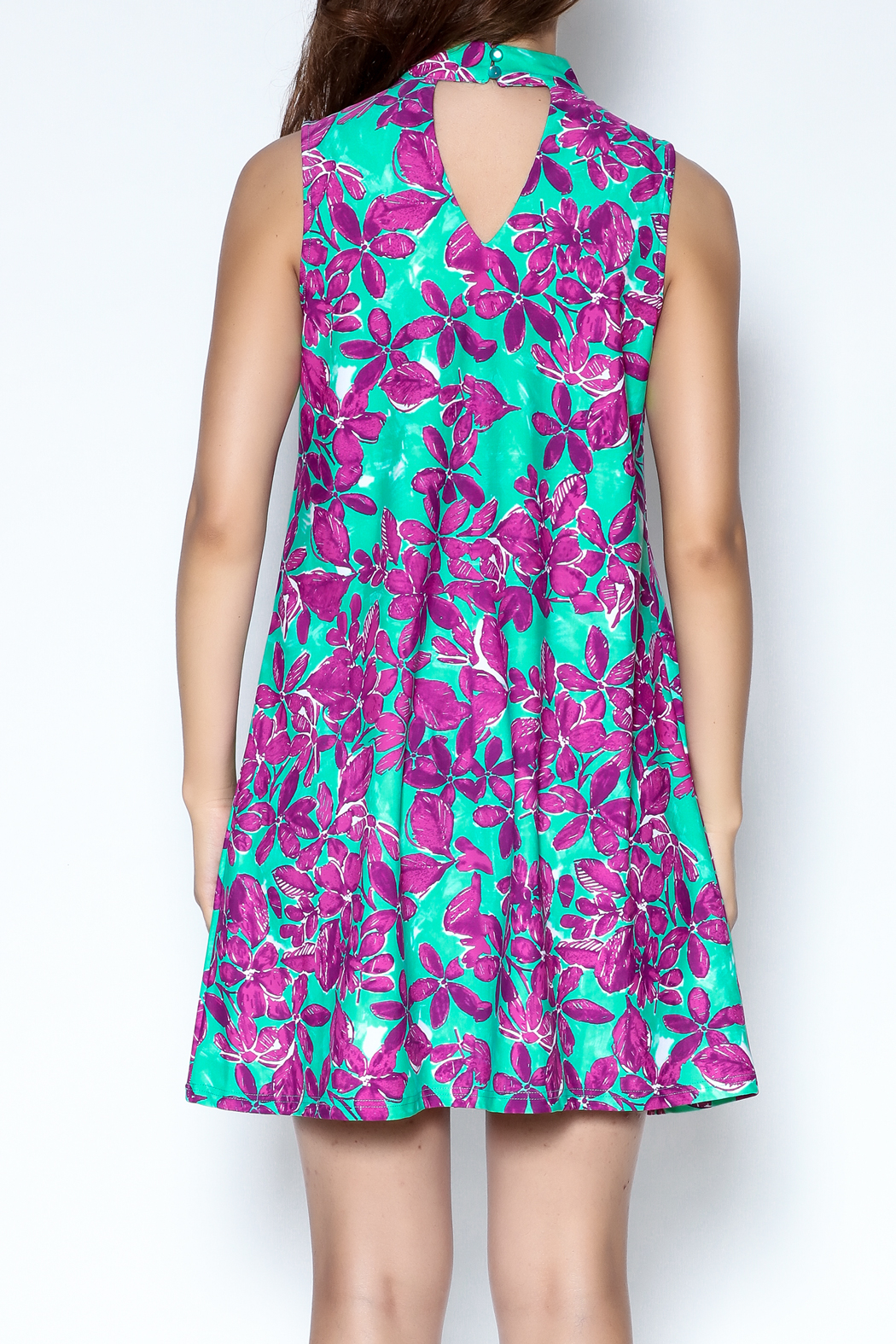 Aryeh Floral Choker Dress - Back Cropped Image