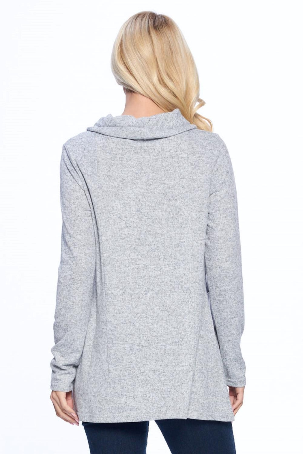 Aryeh Gray Cowl Neck Knit Top - Side Cropped Image