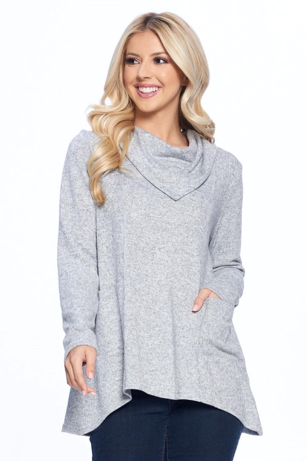 Aryeh Gray Cowl Neck Knit Top - Main Image