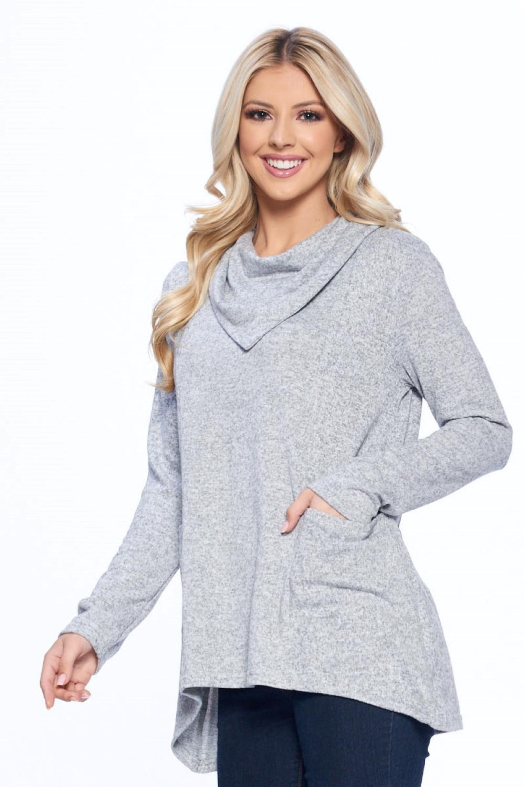 Aryeh Gray Cowl Neck Knit Top - Front Full Image