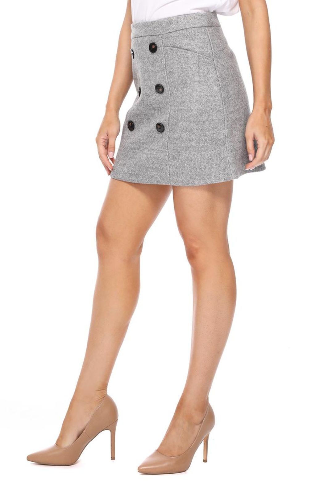 Aryeh Gray Wool Mini Skirt - Side Cropped Image